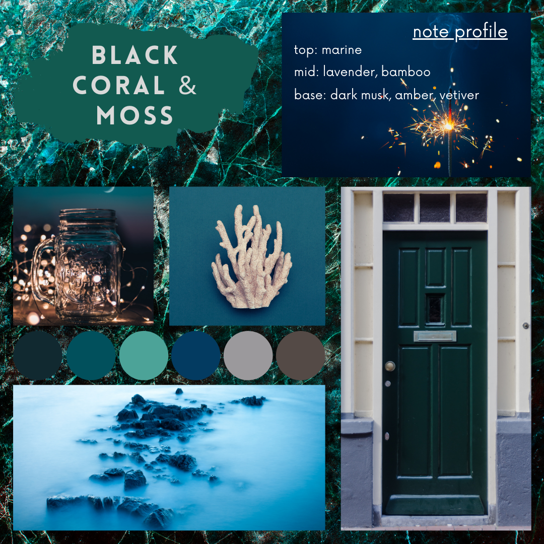 Black Coral and Moss fragrance oil mood board