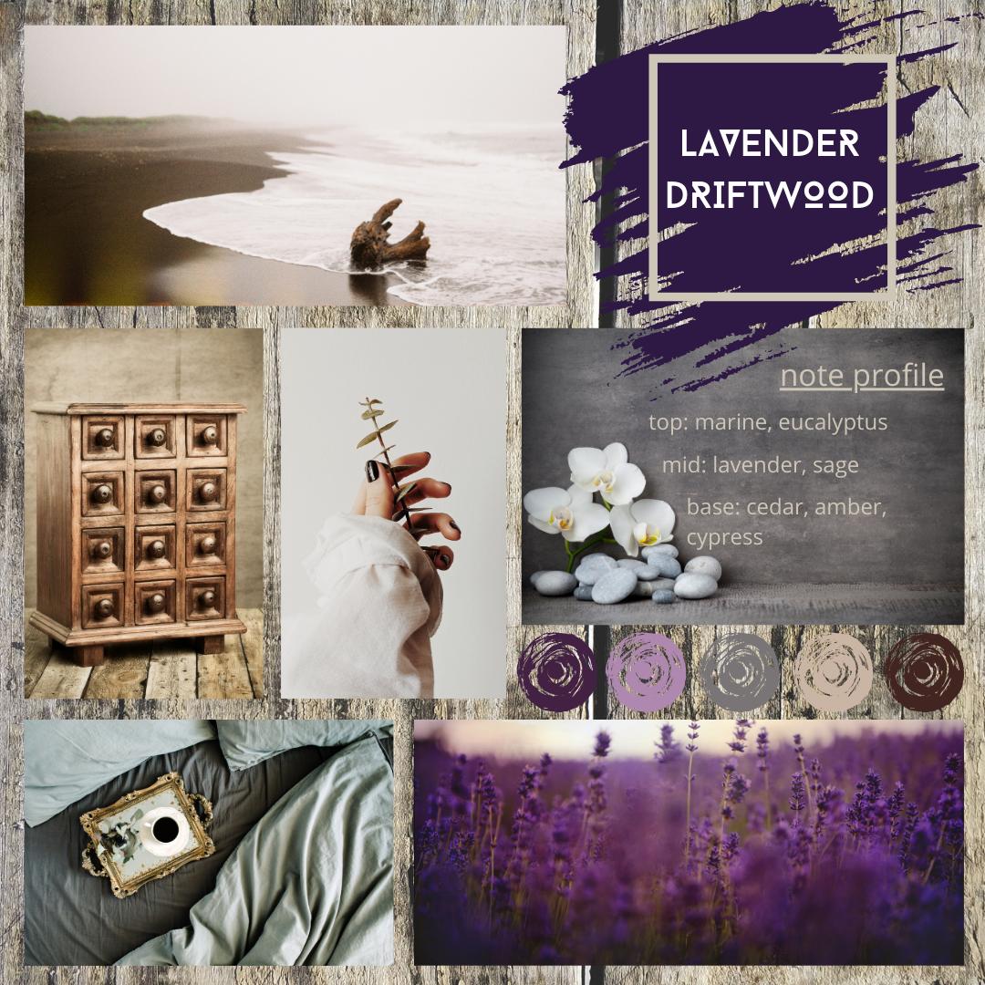 Lavender Driftwood fragrance oil mood board