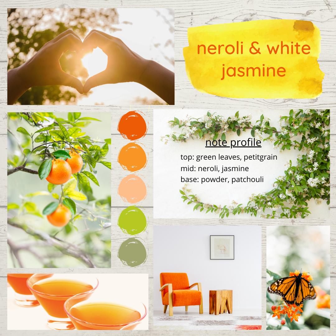 Neroli and White Jasmine fragrance oil mood board