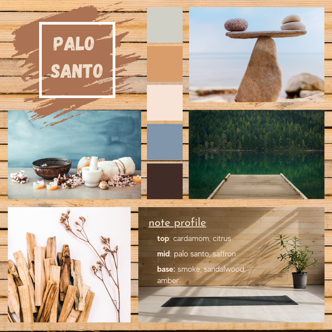Palo Santo fragrance oil mood board