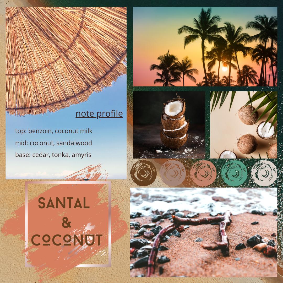 Santal and Coconut fragrance oil mood board